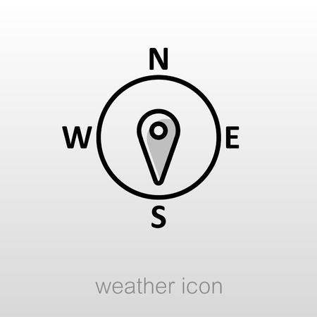 rosa vientos: viento rosa de los vientos icono del contorno. Direcci�n sur. Meteorolog�a. Clima. ilustraci�n vectorial Vectores