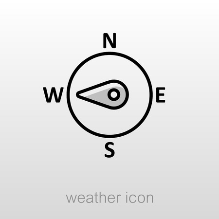 compass rose: Compass wind rose outline icon. Direction west. Meteorology. Weather. Vector illustration Illustration