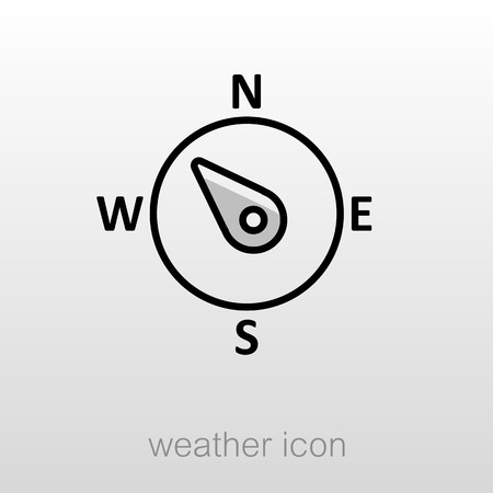 latitude: Compass wind rose outline icon. Direction northwest. Meteorology. Weather. Vector illustration Illustration