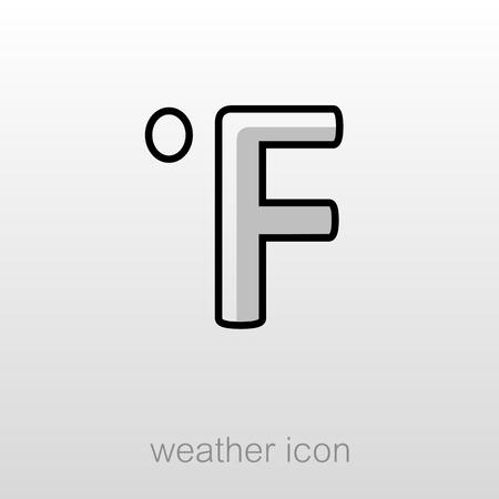 fahrenheit: Degrees Fahrenheit outline icon. Meteorology. Weather. Vector illustration Illustration