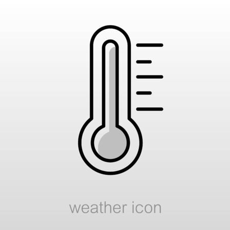 Thermometer Heat Hot outline icon. Meteorology. Weather. Vector illustration