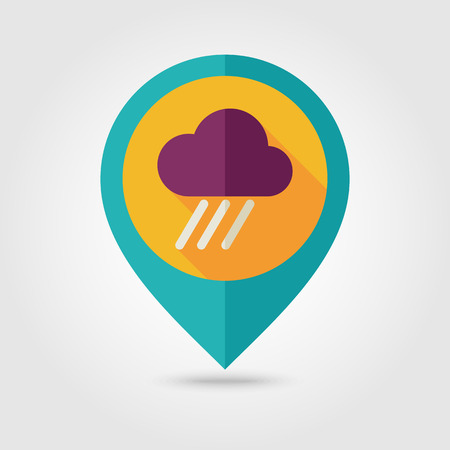 rainfall: RRain Cloud flat pin map icon. Map pointer. Map markers. Downpour, rainfall. Weather. Vector illustration eps 10