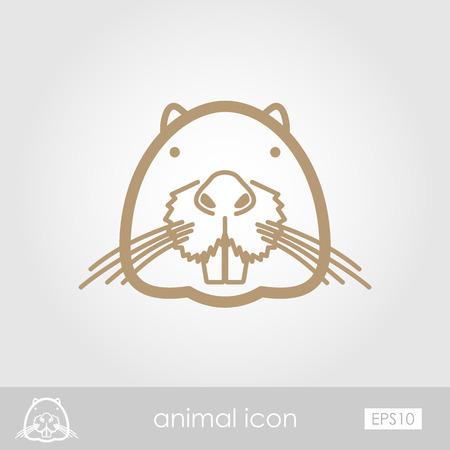 castor: Nutria castor contorno icono delgada. Animal s�mbolo de la cabeza del vector EPS 10