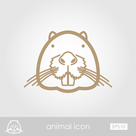 beaver: Otter beaver outline thin icon. Animal head vector symbol eps 10
