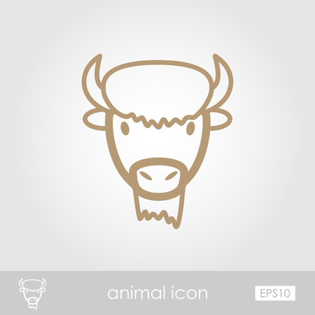 bison: Bison bull buffalo ox outline thin icon. Animal horned head vector symbol eps 10