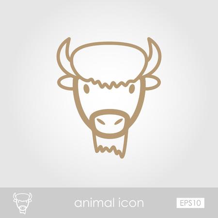 horned: Bison bull buffalo ox outline thin icon. Animal horned head vector symbol eps 10