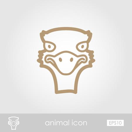 animal head: Ostrich outline thin icon. Animal head vector symbol eps 10