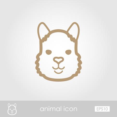 alpaca animal: Lama alpaca guanaco outline thin icon. Animal head vector symbol eps 10 Illustration