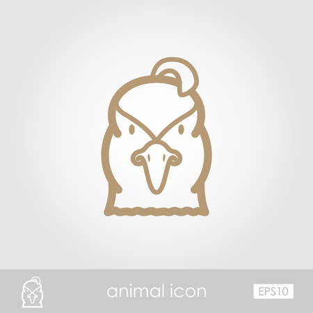Quail outline thin icon. Animal head vector symbol eps 10