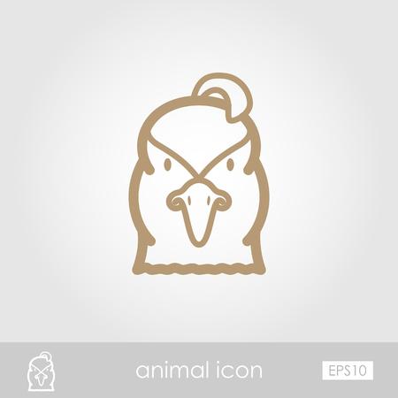 animal head: Quail outline thin icon. Animal head vector symbol eps 10
