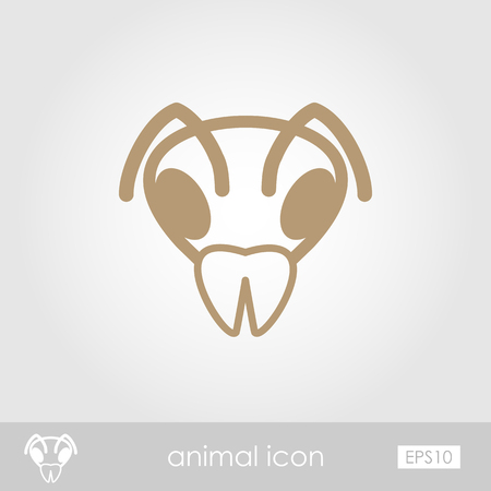 wasp: Bee wasp bumblebee outline thin icon. Animal head vector symbol eps 10 Illustration