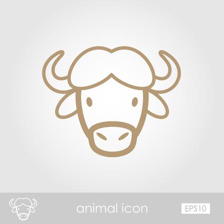 buey: B�falo bisonte buey contorno icono delgada. Animal de cuernos s�mbolo vector de cabeza eps 10
