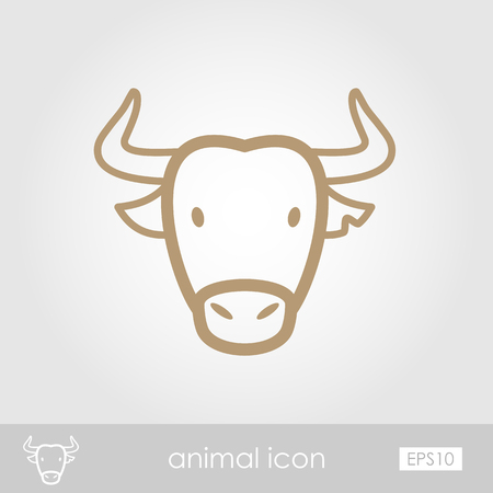 horned: Spanish bull bison buffalo ox outline thin icon. Animal horned head vector symbol eps 10 Illustration