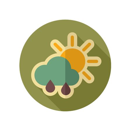 rain weather: Sun with Rain Cloud retro flat icon. Meteorology. Weather. Vector illustration eps 10 Illustration
