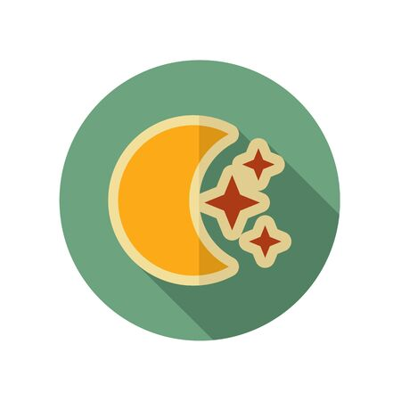 stars: Moon and stars retro flat icon. Sleep dreams symbol. Meteorology. Weather. Vector illustration eps 10