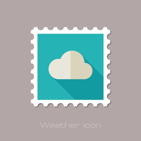 meteorology: Cloud flat stamp. Meteorology. Weather. Vector illustration Illustration