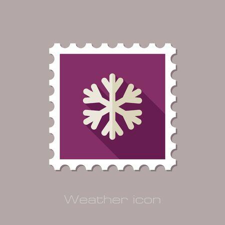 meteorology: Snowflake Snow flat stamp. Meteorology. Weather. Vector illustration