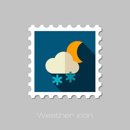 meteorology: Cloud with Snow Moon flat stamp. Meteorology. Weather. Vector illustration Illustration