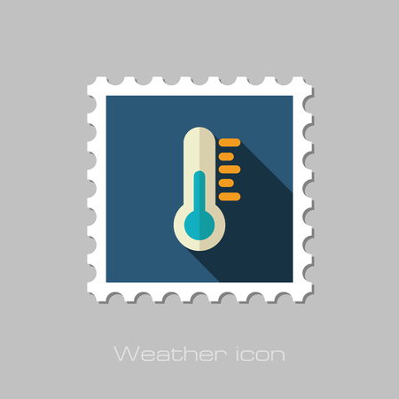 meteorology: Thermometer flat stamp. Meteorology. Weather. Vector illustration