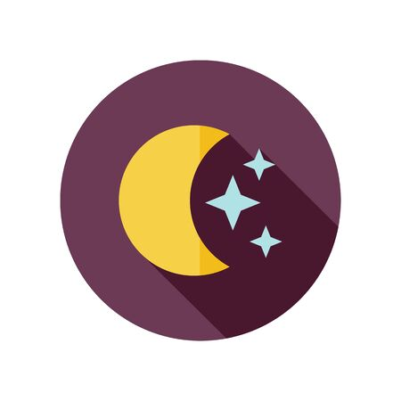 stars: Moon and stars flat icon. Sleep dreams symbol. Meteorology. Weather. Vector illustration Illustration