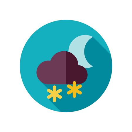 Cloud with Snow Moon flat icon. Meteorology. Weather. Vector illustration