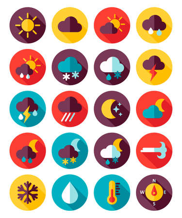 meteorology: Meteorology Weather flat icons set, vector illustration