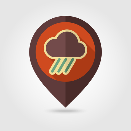 rainfall: RRain Cloud retro flat pin map icon. Map pointer. Map markers. Downpour, rainfall. Weather. Vector illustration