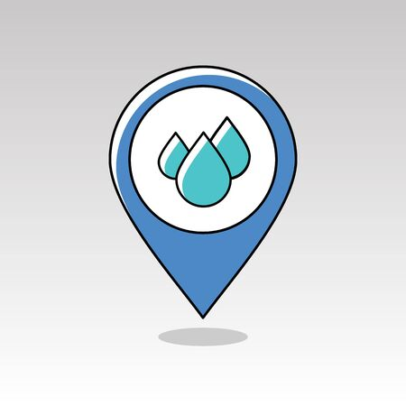 rain drop: Water Rain Drop outline pin map icon. Map pointer. Map markers. Meteorology. Weather. Vector illustration