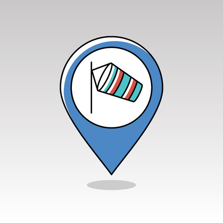meteorology: Windsocks hanging at the airport runway pin map icon. Map pointer. Map markers. Meteorology. Weather. Vector illustration eps 10
