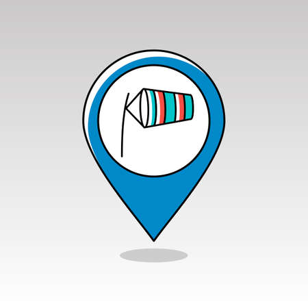 windsock: Windsocks inflated by wind at the airport runway pin map icon. Map pointer. Map markers. Meteorology. Weather. Vector illustration eps 10 Illustration