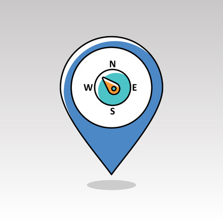 longitude: Compass wind rose outline pin map icon. Map pointer. Map markers. Direction northwest. Meteorology. Weather. Vector illustration eps 10