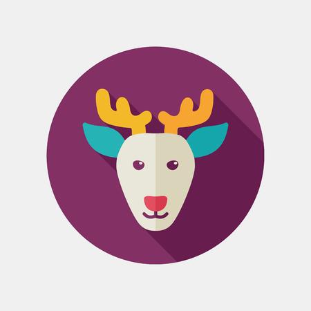 animal head: Deer flat icon. Animal head vector illustration,