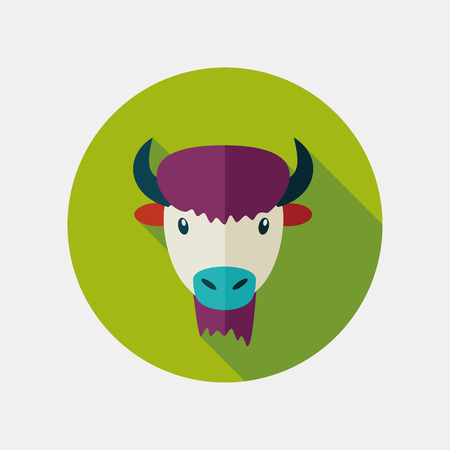 ox: Bison bull buffalo ox flat icon. Animal horned head vector symbol Illustration