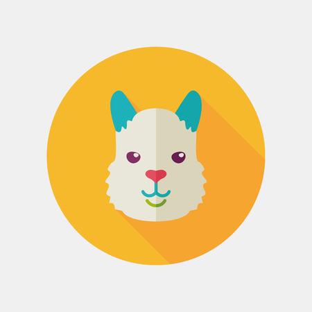 alpaca animal: Lama alpaca guanaco flat icon. Animal head vector symbol Illustration