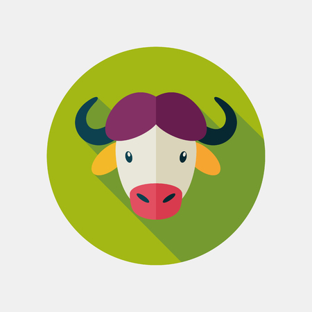 bison: Buffalo bull bison ox flat icon. Animal horned head vector symbol Illustration