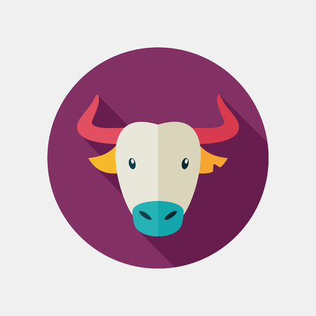 ox: Spanish bull bison buffalo ox flat icon. Animal horned head vector symbol Illustration