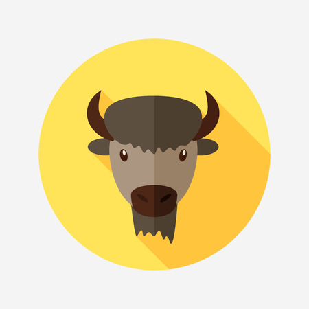 buffalo bison: Bison bull buffalo ox flat icon. Animal horned head vector symbol eps 10