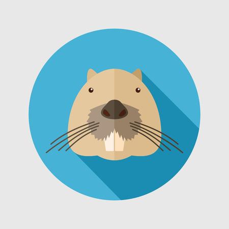 animal head: Otter beaver flat icon. Animal head vector symbol eps 10