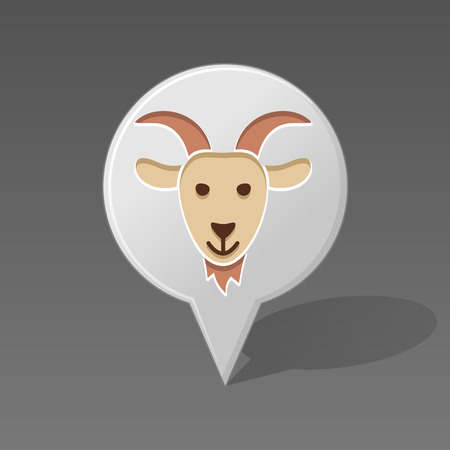 animal head: Goat pin map icon. Map pointer. Map markers. Animal head vector illustration, Illustration