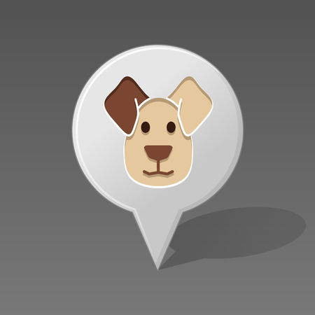 doggy position: Dog pin map icon. Map pointer. Map markers. Animal head vector illustration,