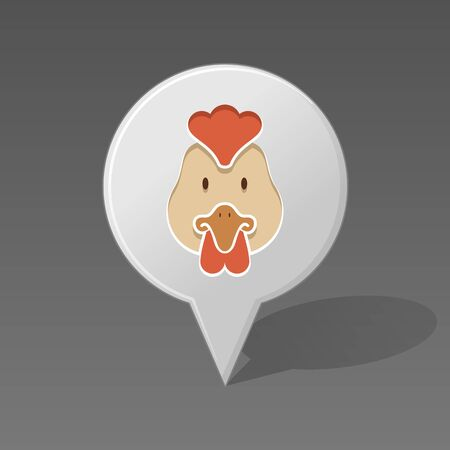 animal head: Chicken pin map icon. Map pointer. Map markers. Animal head vector illustration,