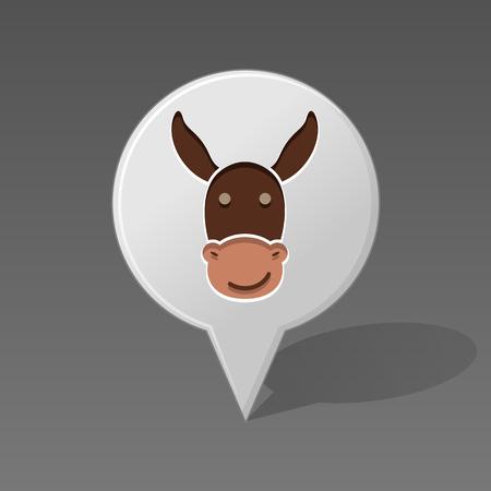 Donkey pin map icon. Map pointer. Map markers. Animal head vector illustration, eps 10 Ilustração