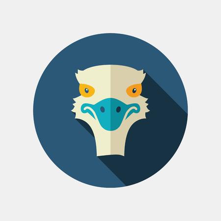 animal head: Ostrich flat icon. Animal head vector symbol