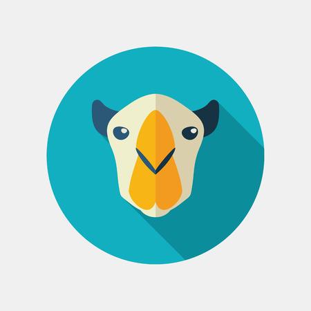 animal head: Camel flat icon. Animal head vector symbol