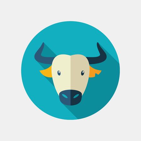 buey: toro espa�ol bisonte b�falo buey icono plana. la cabeza de cuernos de animal s�mbolo del vector Vectores