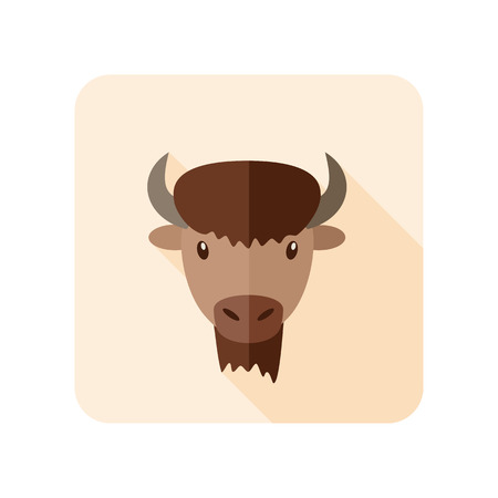 bison: Bison bull buffalo ox flat icon. Animal horned head vector symbol Illustration