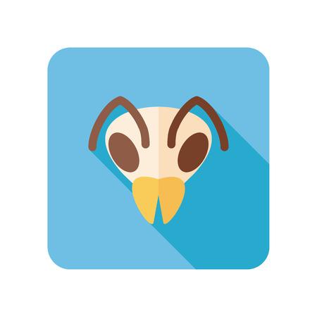 wasp: Bee wasp bumblebee flat icon. Animal head vector symbol