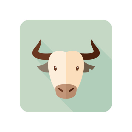 bullfight: Spanish bull bison buffalo ox flat icon. Animal horned head vector symbol Illustration