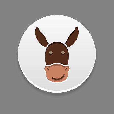 jackass: Donkey icon. Farm animal vector illustration Illustration