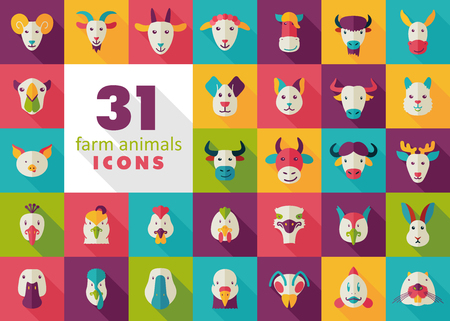 Set of farm animals flat icons. Vector head illustration.